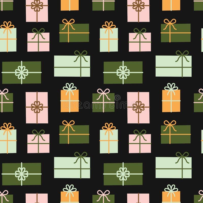 Contenitori di regalo modello senza cuciture, regali di Natale illustrazione di stock