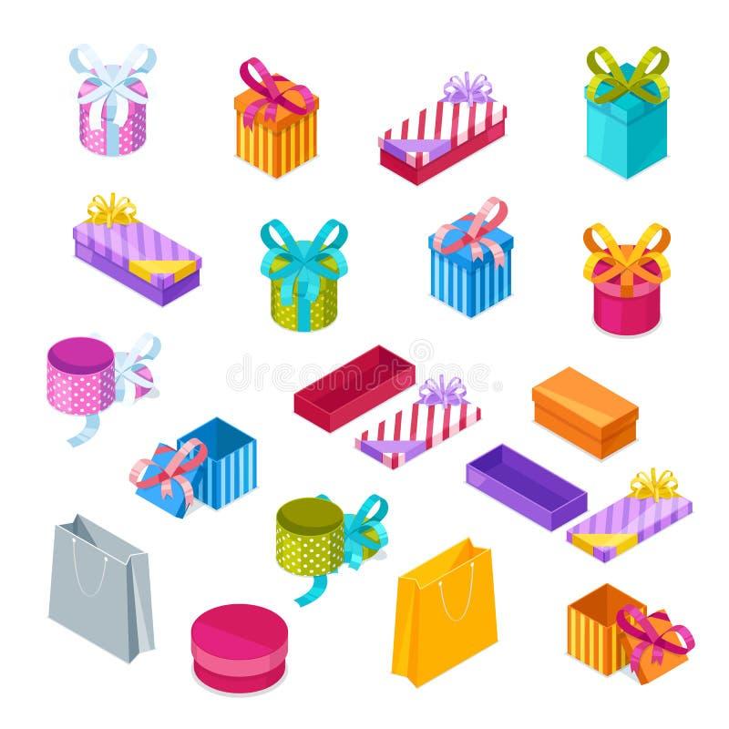 Contenitori di regalo multicolori, icone isometriche di stile di vettore 3d Apra e la festa vicina presenta illustrazione di stock