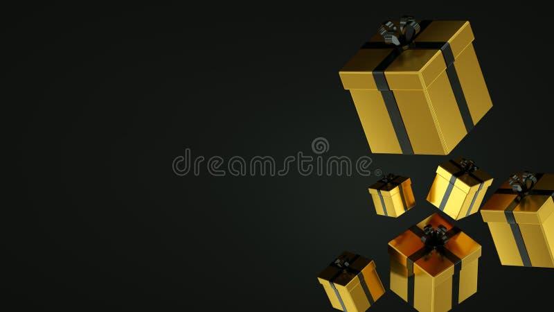 Contenitori di regalo neri con il nastro dell'oro su fondo nero rappresentazione 3d immagini stock libere da diritti