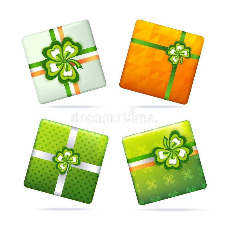 Contenitori di regalo per il giorno del ` s di Patrick fotografia stock libera da diritti