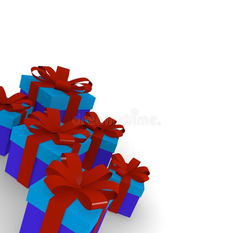 Contenitori di regalo rossi e blu illustrazione di stock