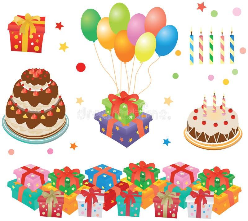 Contenitori di regalo, torte, baloons, candele illustrazione di stock