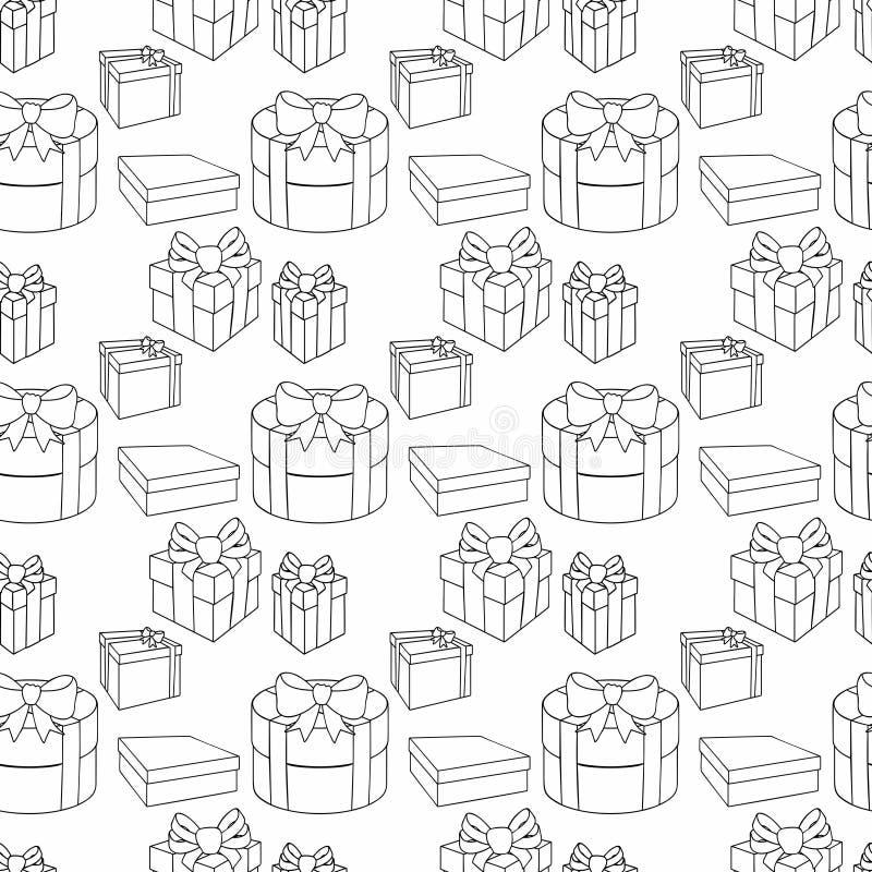 Contenitori di regalo variopinti con gli archi ed i nastri Vector l'illustrazione senza giunte royalty illustrazione gratis