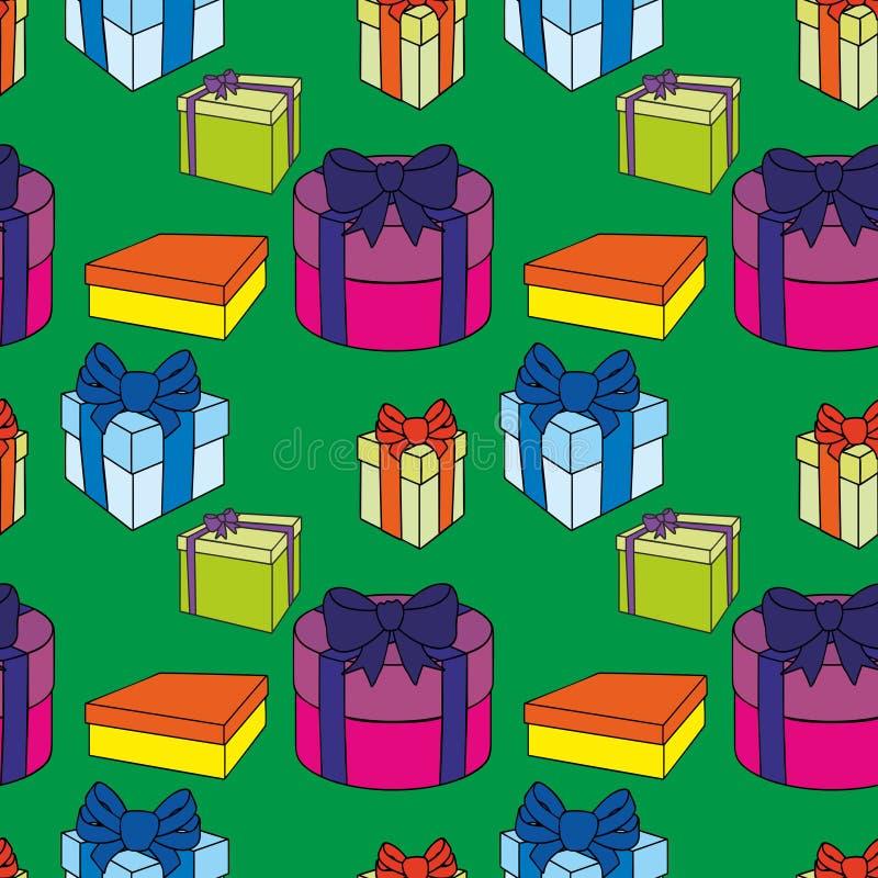 Contenitori di regalo variopinti con gli archi ed i nastri Vector l'illustrazione senza giunte illustrazione vettoriale