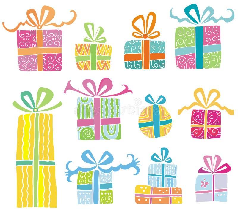 Contenitori di regalo variopinti di vettore illustrazione di stock