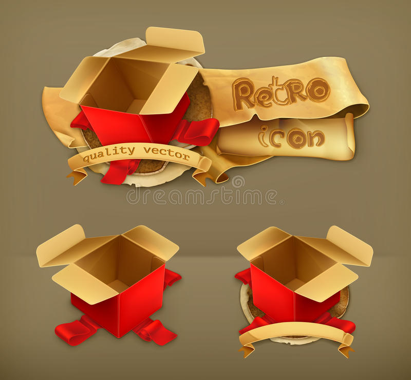 Contenitori di regalo vuoti, illustrazione vettoriale