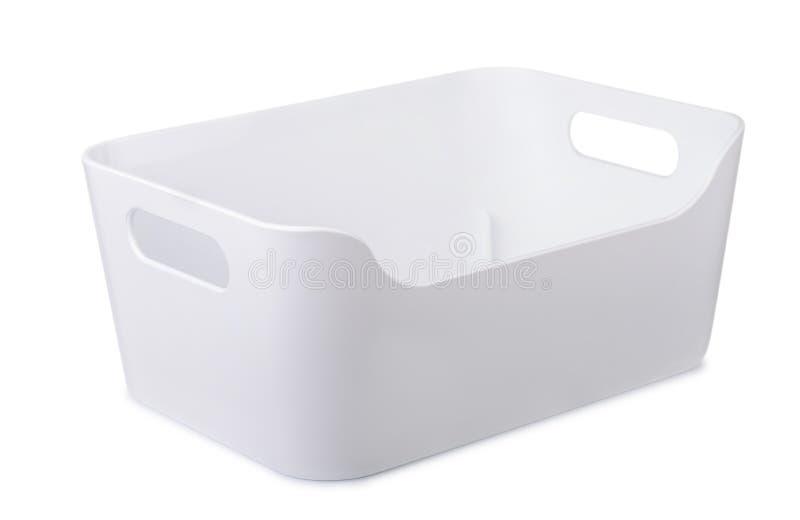 Contenitori di stoccaggio di plastica bianchi fotografia stock