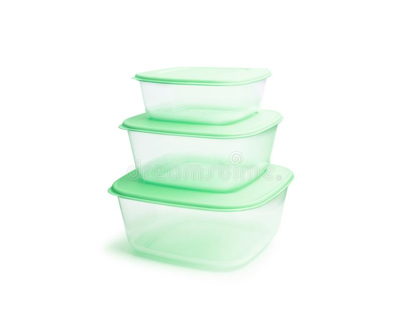 Contenitori di stoccaggio di plastica dell'alimento isolati su fondo bianco fotografie stock