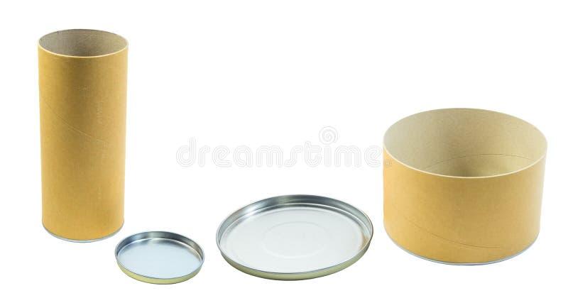 Contenitori e coperchi d'imballaggio di cilindro isolati fotografie stock