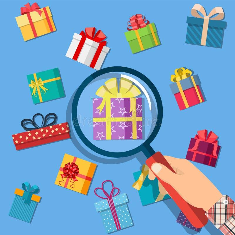 Contenitori e mano di regalo con la lente d'ingrandimento illustrazione di stock