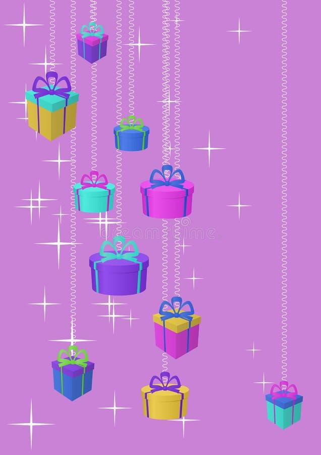 Contenitori e stelle di regali illustrazione vettoriale
