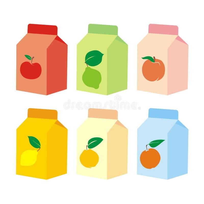 Contenitori isolati di scatola del succo di frutta royalty illustrazione gratis