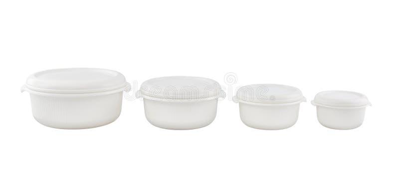 Contenitori vuoti per alimento isolato su fondo bianco immagine stock