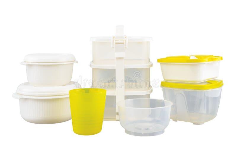 Contenitori vuoti per alimento isolato su fondo bianco immagini stock libere da diritti