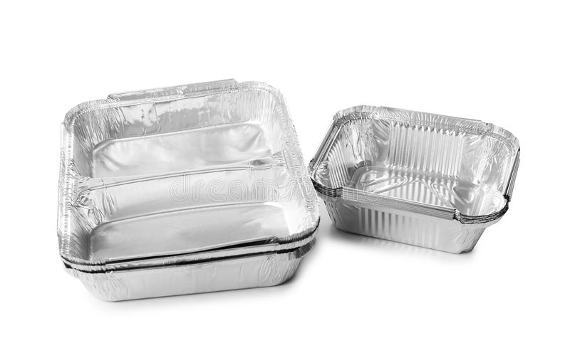 Contenitori vuoti su fondo bianco Servizio di distribuzione dell'alimento fotografia stock libera da diritti