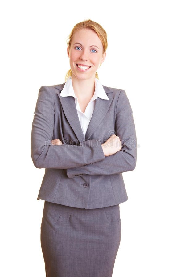 Content businesswoman. Blond happy businesswoman in a suit with isolated background stock photo