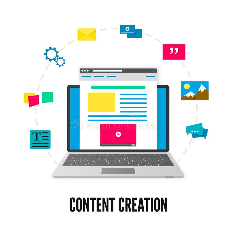 Content creation concept. Laptop with website on screen and elements of development. Social media and blogging. Vector stock illustration