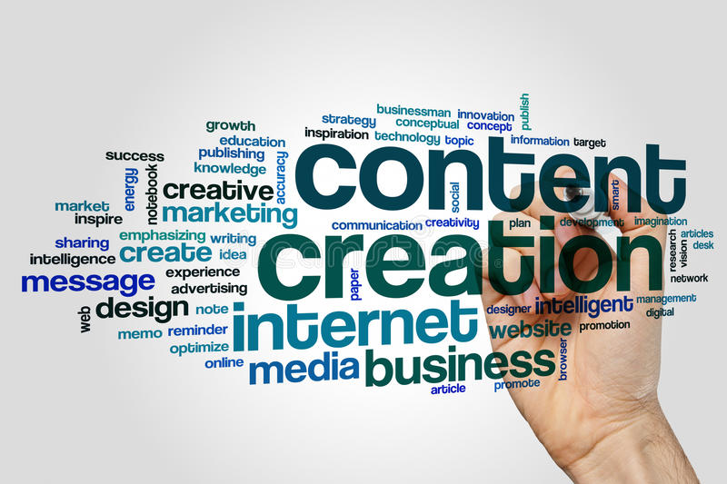 Content creation word cloud concept on grey background royalty free stock photos