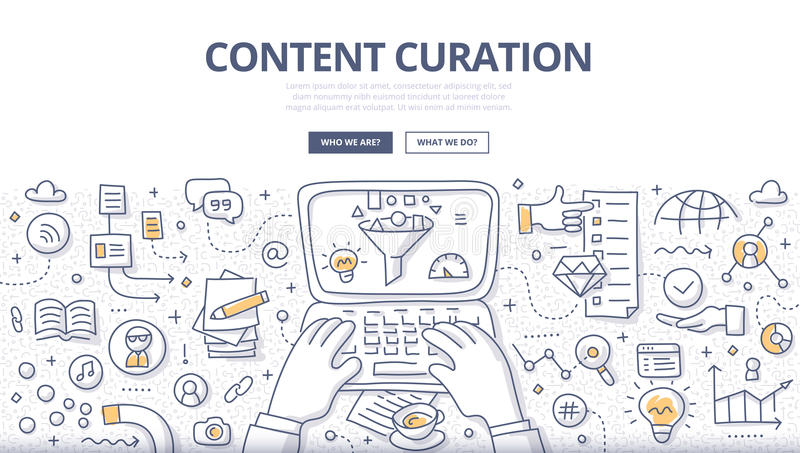 Content Curation Doodle Concept royalty free illustration
