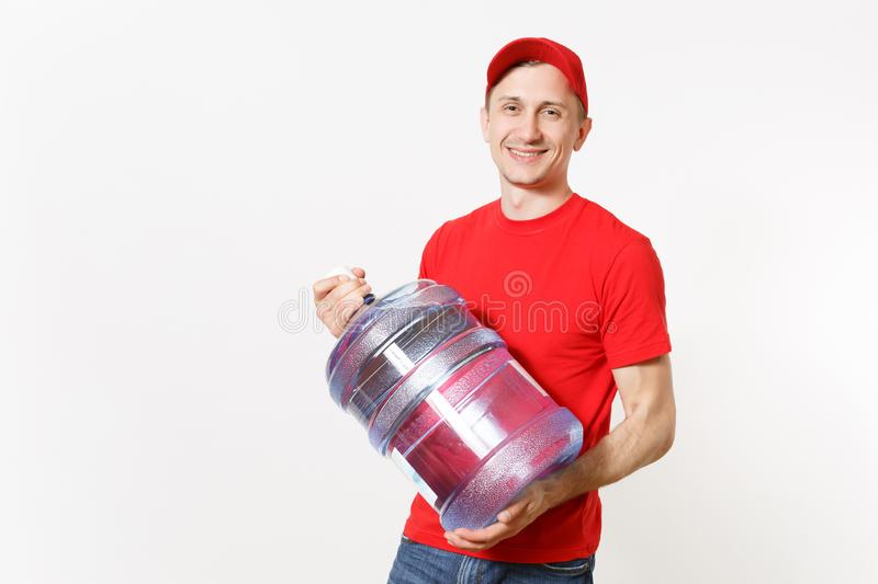 Content delivery courier or dealer man in red uniform carrying bottle of fresh water to office cooler isolated on white royalty free stock photography