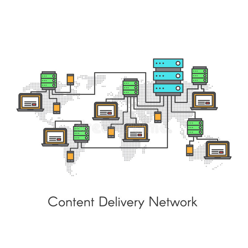 Content Delivery Network or Content Distribution Network CDN stock illustration