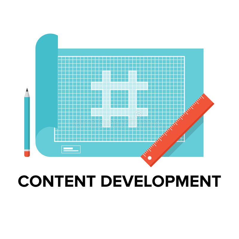 Content development flat illustration stock vector illustration of content development process of web design and website interface optimization webpage blueprint and html coding flat design style modern vector malvernweather Gallery