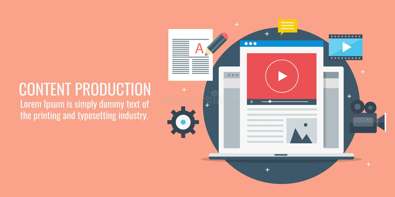 Content production, development, blogging, video content, article writing concept. Flat design vector illustration. royalty free illustration