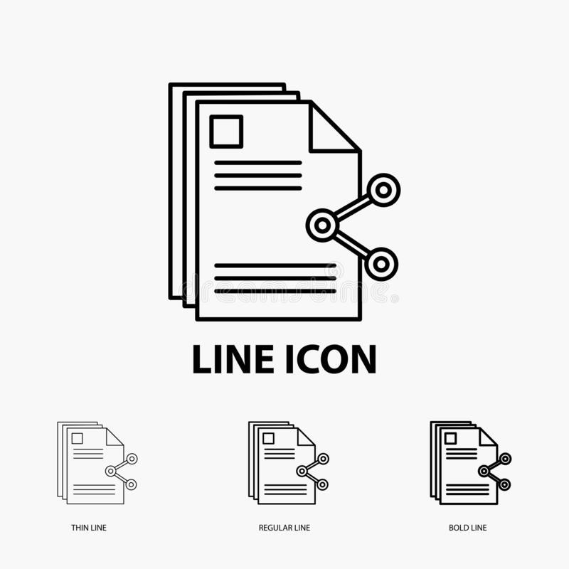 Content, files, sharing, share, document Icon in Thin, Regular and Bold Line Style. Vector illustration. Vector EPS10 Abstract Template background vector illustration