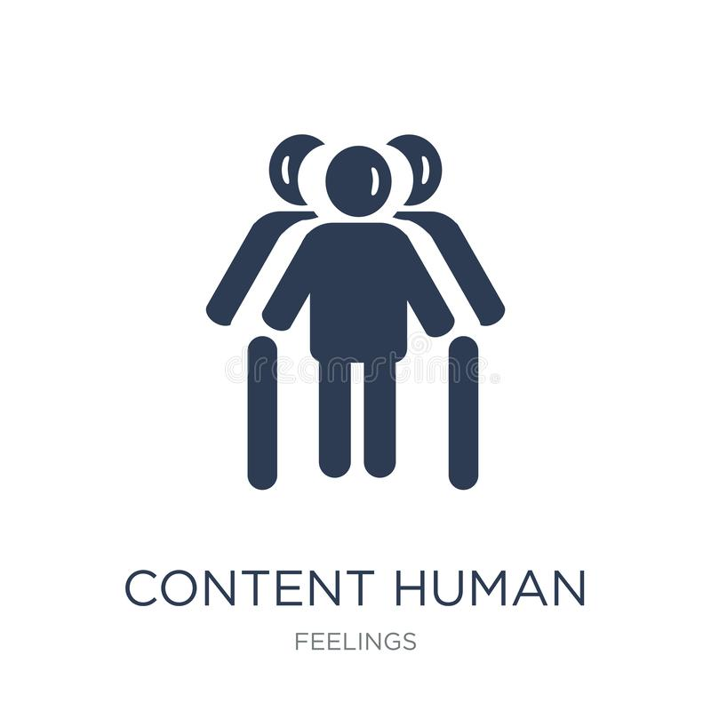 content human icon. Trendy flat vector content human icon on white background from Feelings collection royalty free illustration