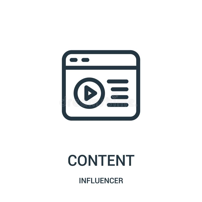 content icon vector from influencer collection. Thin line content outline icon vector illustration royalty free illustration