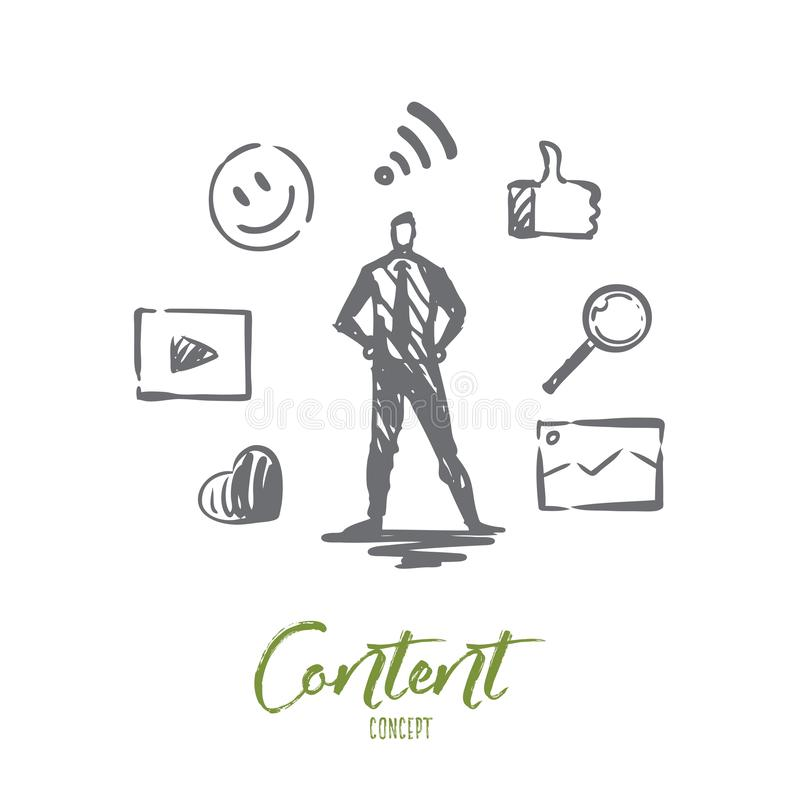 Content, internet, media, strategy, network concept. Hand drawn isolated vector. vector illustration