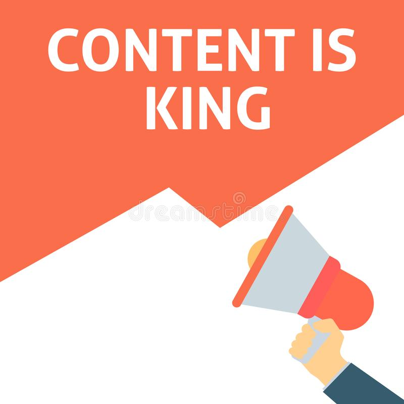 CONTENT IS KING Announcement. Hand Holding Megaphone With Speech Bubble stock illustration