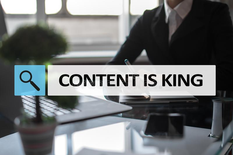 Content is king text in search bar. Business, technology and internet concept. Digital marketing. stock photo