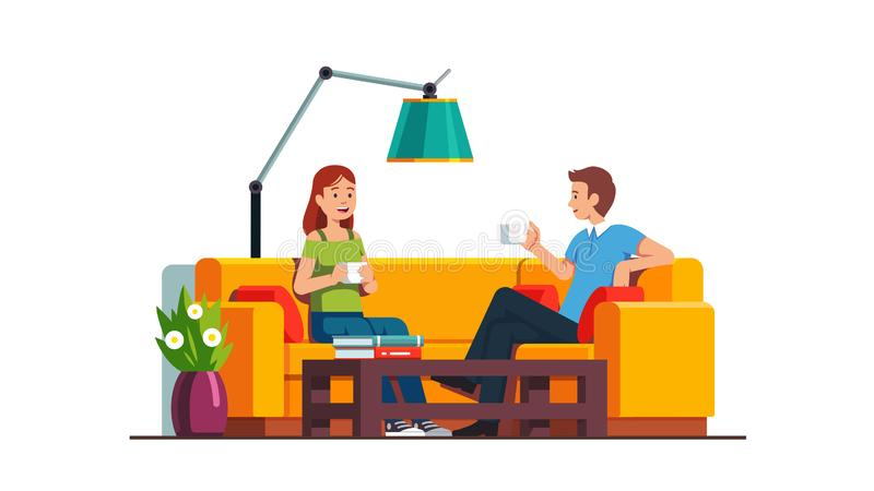 Content man and woman sitting on sofa, relaxing. Content man and woman sitting on sofa at coffee table, drinking and relaxing. Home living room or office waiting royalty free illustration