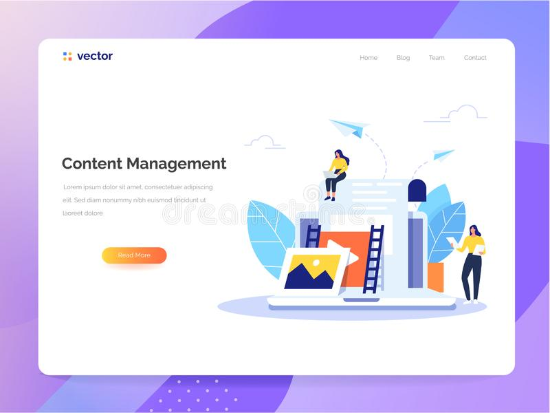 Content Management concept in flat design. Creating, marketing and sharing of digital - vector illustration. royalty free illustration