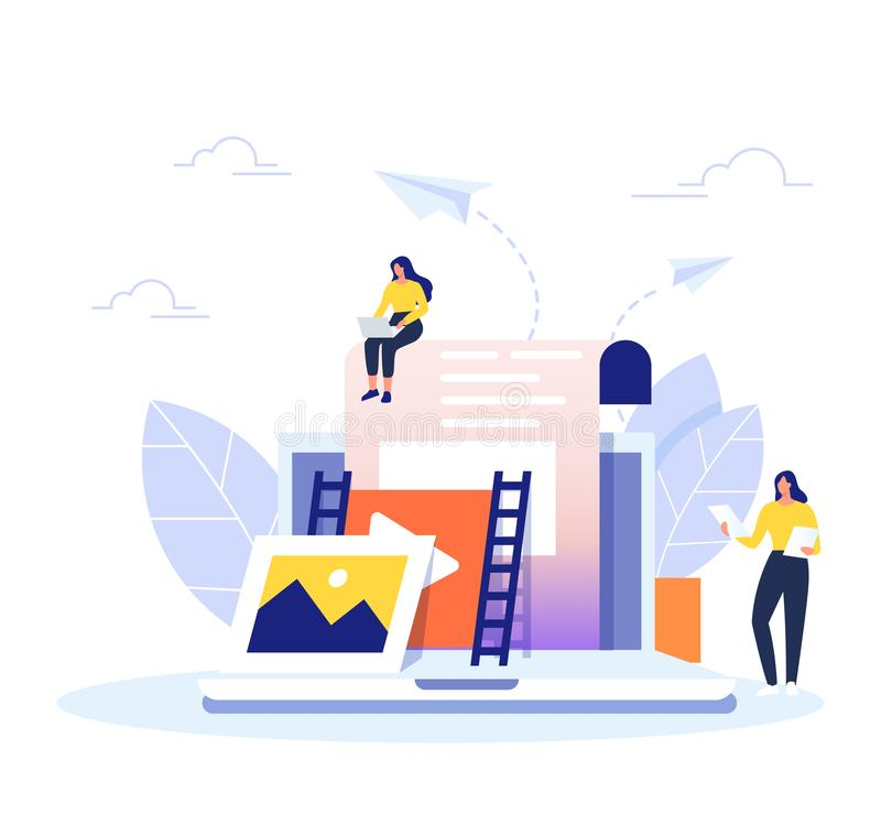 Content Management concept in flat design. Creating, marketing and sharing of digital - vector illustration. stock illustration