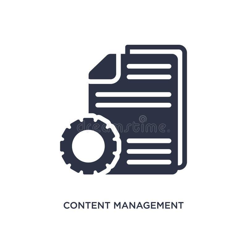 Content Management-Ikone auf weißem Hintergrund Einfache Elementillustration von vermarktendem Konzept stock abbildung