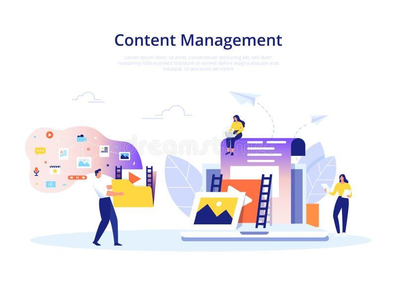 Content Management-Konzept im flachen Entwurf Schaffung, Marketing und Teilen von digitalem - vector Illustration stock abbildung