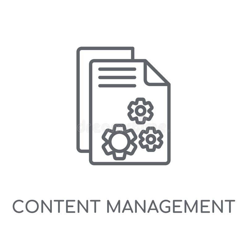 Content management lineair pictogram Moderne overzichtsinhoud Managemen vector illustratie
