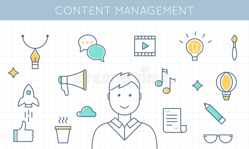 Content Management and Marketing Illustration vector illustration