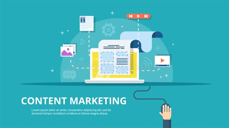 Content Management, SMM and Blogging concept in flat design. Creating, marketing and sharing of digital - vector vector illustration