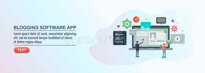 Content managementsysteem, blogging software, inhoudstoepassing, digitale media stock illustratie