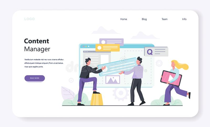 Content manager concept. Create and share content in the internet. stock illustration