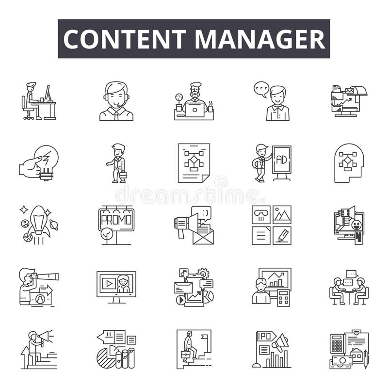 Content manager line icons, signs, vector set, outline illustration concept stock illustration
