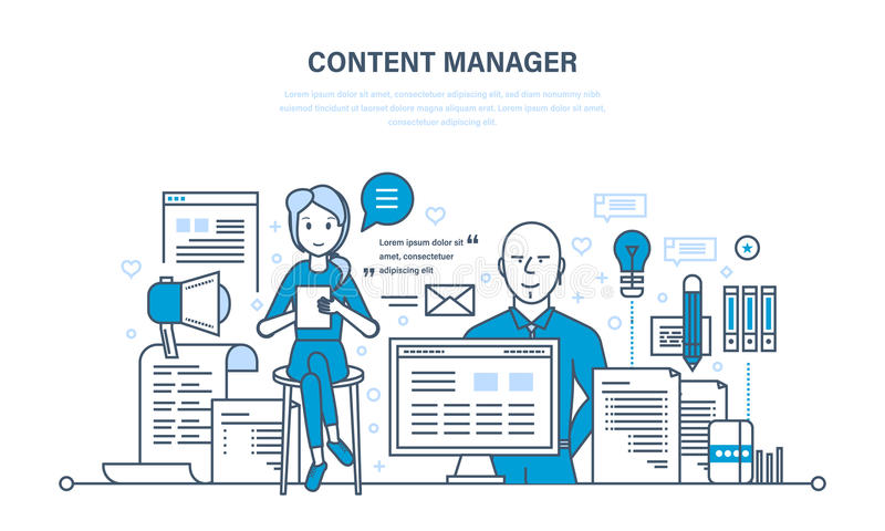 Content manager. Modern technologies, work on writing, editing, processing text. stock illustration