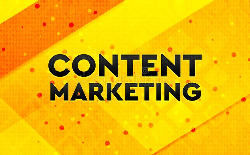 Content Marketing abstract digital banner yellow background vector illustration