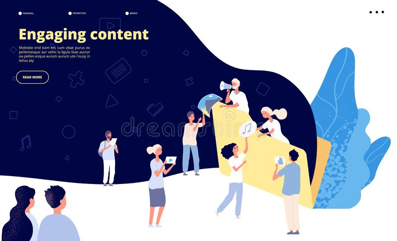 Content marketing. Blog writing, promotional article text creating strategy. Ad copywriter service landing page vector stock illustration