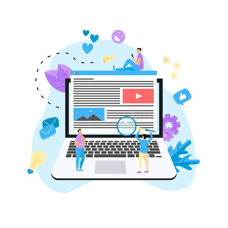 Content Marketing, Blogging and SMM concept. Articles and media materials on laptop.  vector illustration