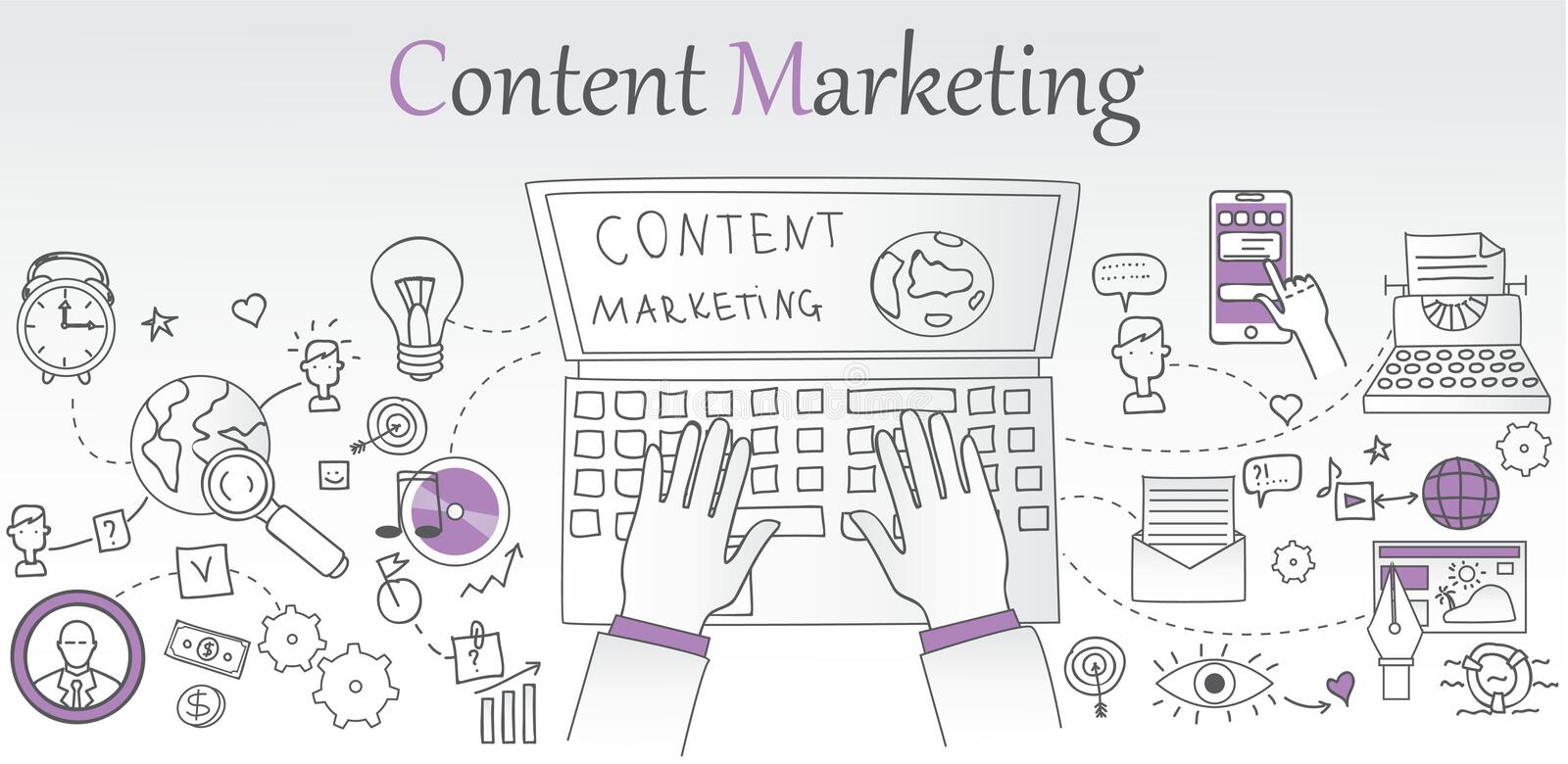 Content marketing concept banner stock illustration