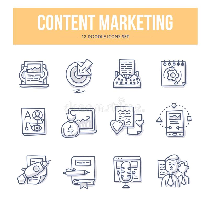 Content Marketing Doodle Icons vector illustration